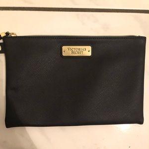 VICTORIA'S SECRET black faux leather cosmetic bag